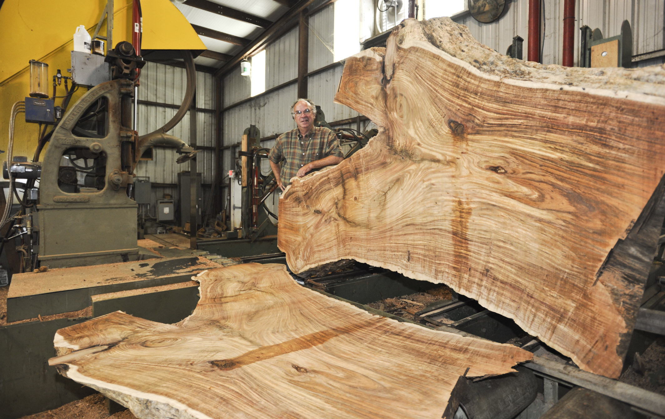 rick with freshly cut bookmatched maple, live edge slabs
