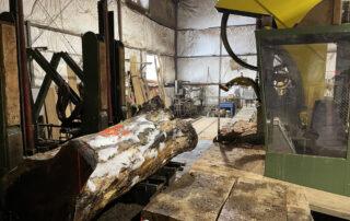 sawing koa logs at Hearne Hardwoods Inc.