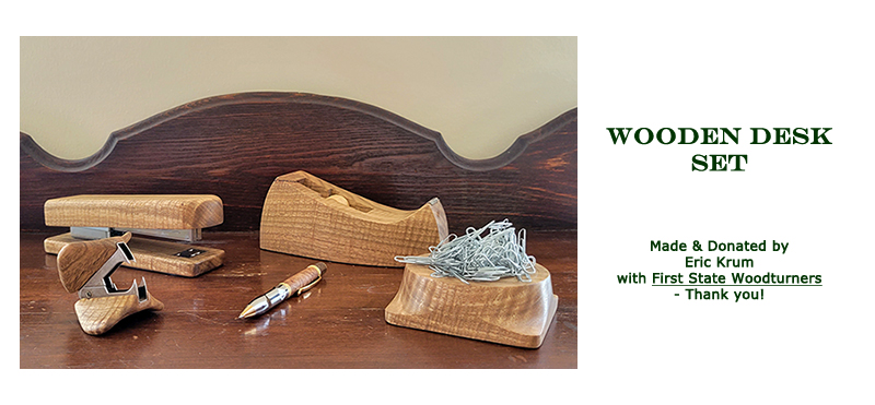 Win this desk set, made and donated by Eric Krum at the 2021 Hearne Hardwoods Open House